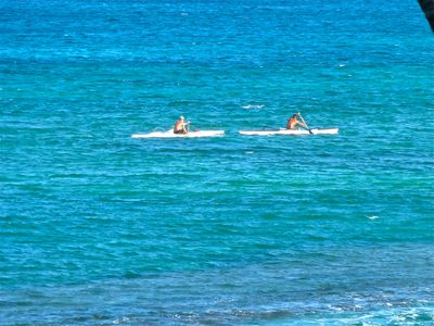 Kayakers in Front of Papakea Resort