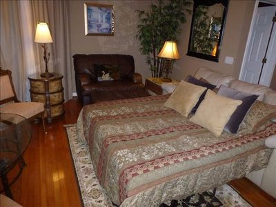 Great Room as Master Suite with comfortable Memory Foam Queen Sofa Bed.
