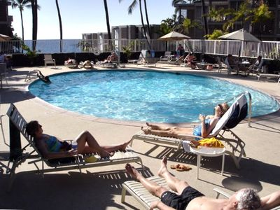 Kailua Kona condo rental - The pool is just above the BBQ.