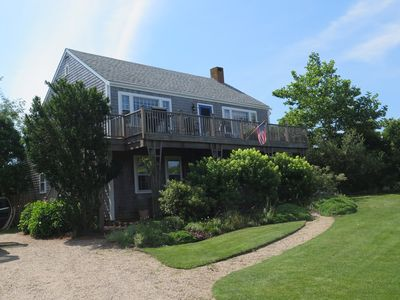 61 Monomoy Rd. View from the street of our upside-down layout house