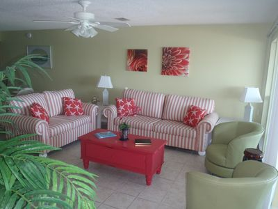 Frangista Beach townhome rental - Living Room with Fantastic Gulf Views