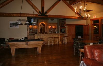 Cabin Pool Table and Bar area with views to Big Sky Ski Area, Lone Mountain