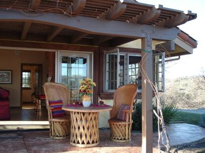 Veranda facing vineyard views