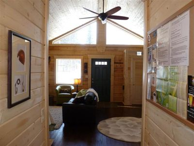 Back to front of cabin w/ Tongue & groove ceilings & star-gazing windows
