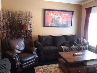Park City house photo - TV room with sleeper sofa and leather recliner. Dog not included :-)