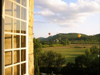 View from the dining room window with the Hot Air Balloons afloat overhead.