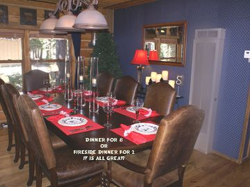 Tamarack cabin rental - Enjoy meals in style, now with a corner fireplace Service for 12.