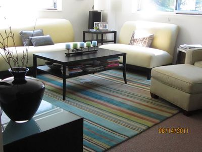 Ann Arbor apartment rental - Stylish, modern living room with Stereo system and music library for relaxing