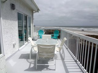 Brigantine condo photo - Oversized Balcony/Deck, perfect for Dining Outdoors under the Umbrella.
