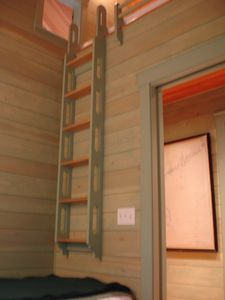 Bedroom Ladder to King-Size Futon-Mattress Sleeping Loft Above