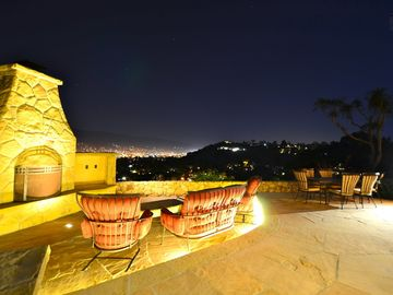 Santa Barbara house rental - At night, watch the city below light up for an amazing spectacle.
