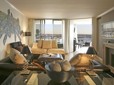 The living-dining room creates a Marina Haven and offers spectacular views.