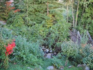 West Vancouver house photo - Wooden bridge over babbling creek in backyard near walking trails
