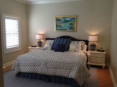 Master Bedroom with top quality bedding and king sized tempurpedic mattress.