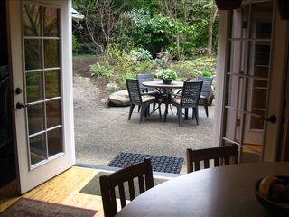 Portland house photo - French doors open from kitchen to back patio