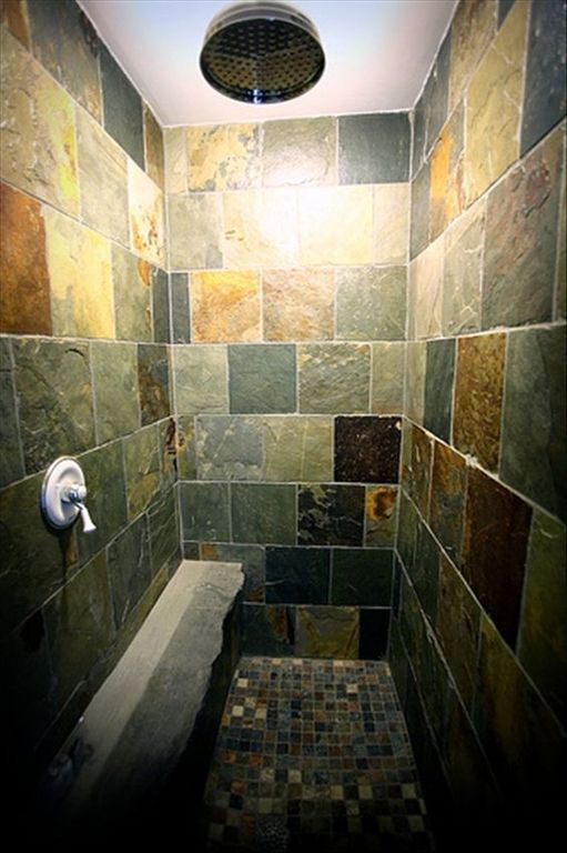 Most rooms have these gorgeous showers, with stone tiles and a huge showerhead.