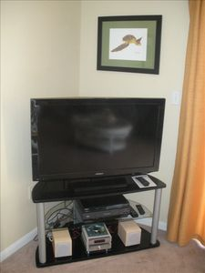 40' flat screen TV and a DVD player (and DVDs) for your viewing enjoyment.