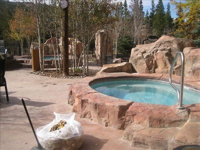 2 year-round hot tubs  (new gondola is just to the left)