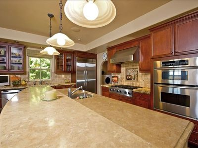 Kitchen, Viking appliances, travertine countertops