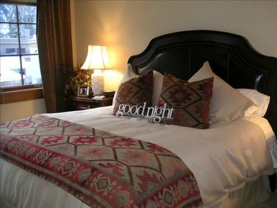 Ketchum condo rental - Huge master, King bed, leather headboard, incredibly comfortable, view of Baldy!