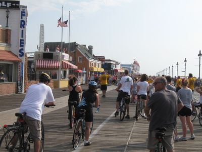 Morning bike rides on the boardwalk