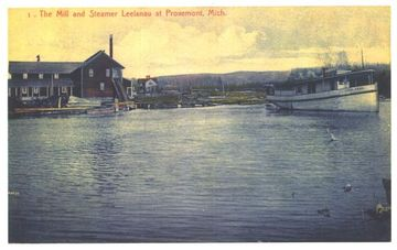 Grist Mill with steamer Leelanau in foreground with Mosier Cottage in back