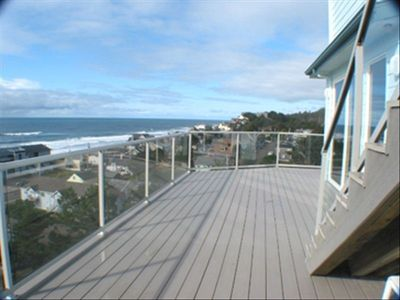 This home has a large deck, plenty of room to enjoy the view of the ocean.