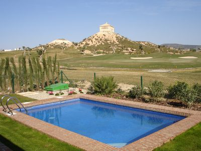 Middle Segura valley villa rental - Pool and the view across the 16th green