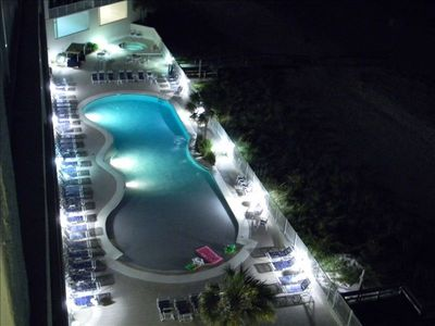 Zero Entry Pool and east side hot tub at night