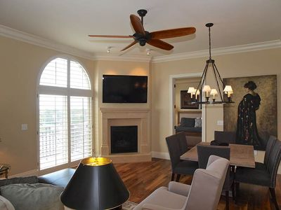"Large Great Room with 55"" plasma and custom shutters."