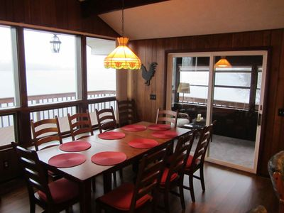 10 seat dining table with beautiful lake views