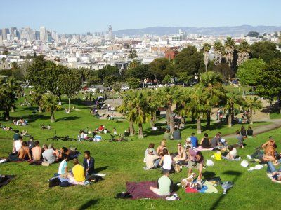 Dolores Park - a block and a half away. Enjoy a picnic on a sunny day.