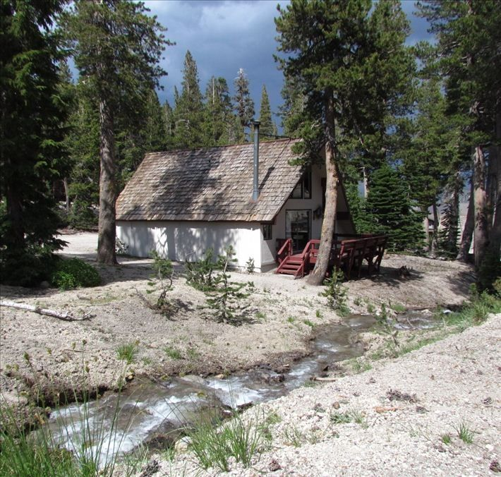 Mammoth Lakes chalet rental - Outside view with mountain stream