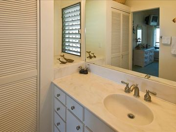 Vanity area of master bath which inculdes tub with shower and washer/dryer