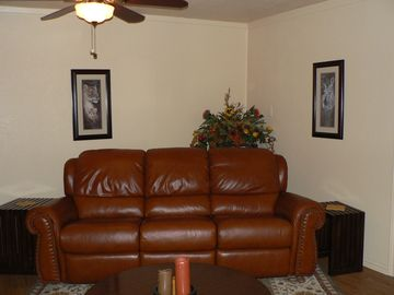 Overstuffed Reclining Leather Sofa in the Living Room