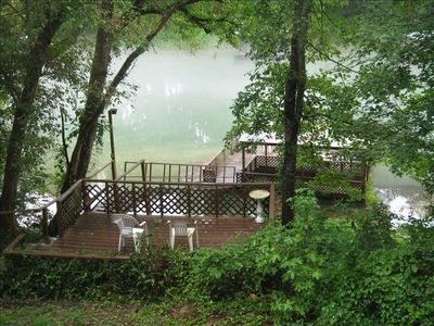 Greers Ferry Lake cabin rental - View from the living area. Lots of windows with a great river view.