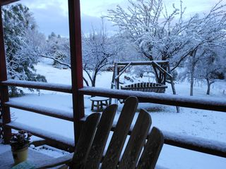 Mariposa house photo - An occasional winter snowfall, usually doesn't stick around too long