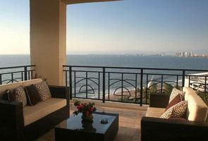 Spacious terrace with a 270 degree view over looking the bay of Bandaras