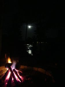 Moon light off of the lake by the fire pit..