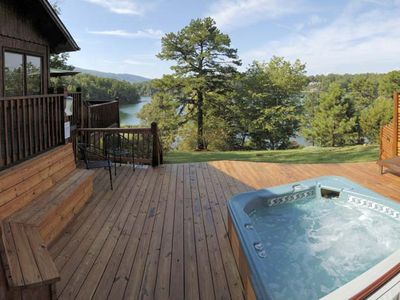 Enjoy lake and mountain views from the hot tub.