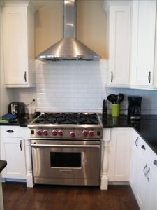 Six burner gas stove.