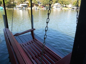 Enjoy the view from the dock swing