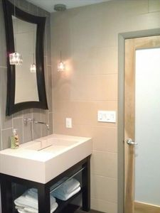 Beverly Shores house rental - Main level new bathroom with dual shower.