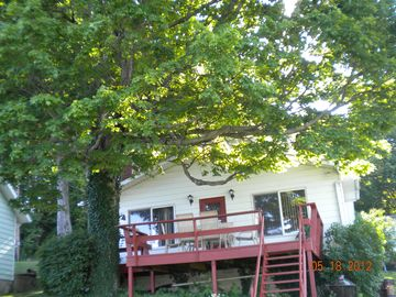 Monticello - Indiana Beach cottage rental - Deck off lakeside of cottage