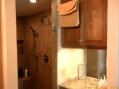 Double shower, make up area in Master Bath.