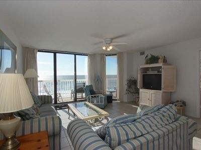 Oceanfront Living Area with Flat Screen TV