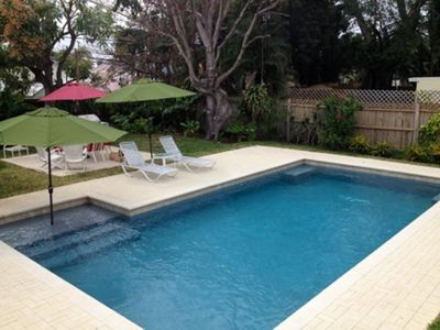 Deluxe pool w/salt system, shaded sun bench, pebble finish, deep end benches.