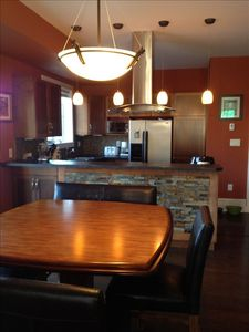 Large kitchen and dining area.