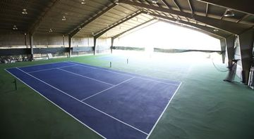 The amazing indoor tennis courts.
