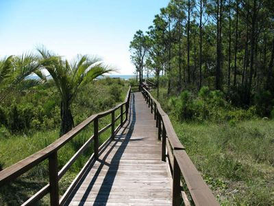 Boardwalk to beach is beautiful in a natural setting